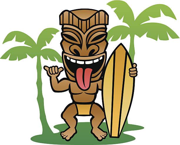 Tiki Surfer vector art illustration