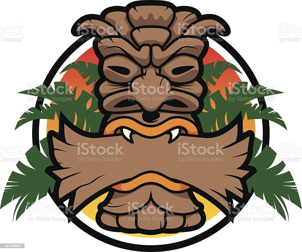 Tiki Symbol with Panel royalty-free stock vector art