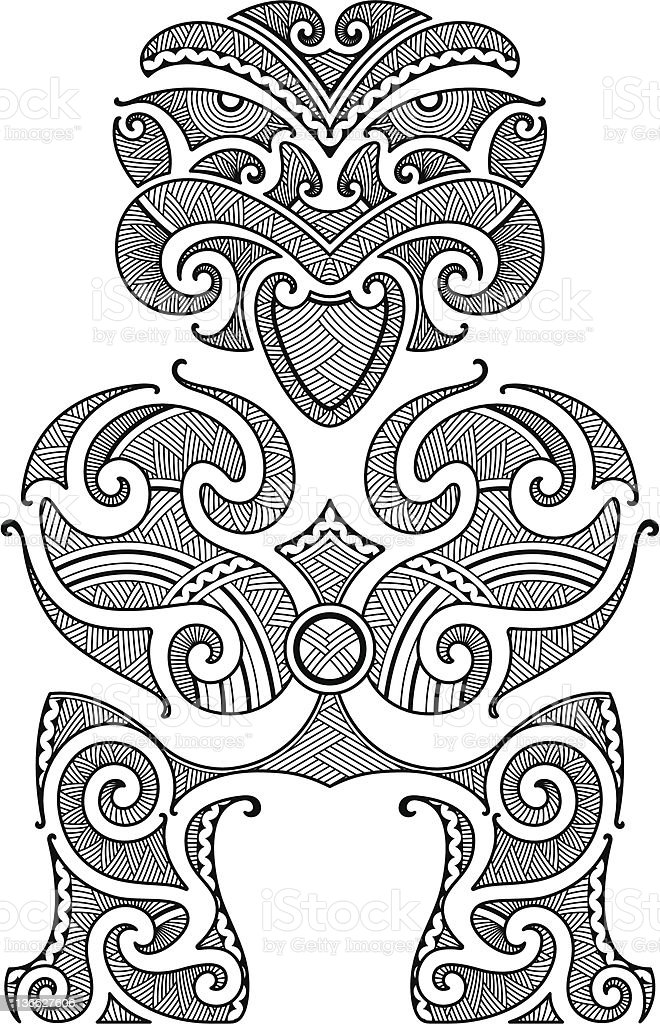 Tiki tattoo design royalty-free stock vector art