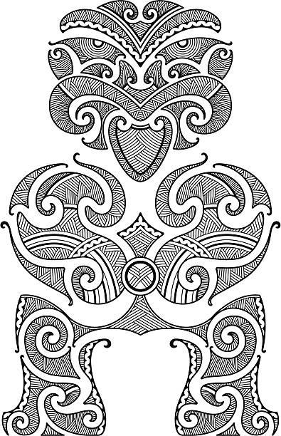 tiki-tattoo-design - maori tattoos stock-grafiken, -clipart, -cartoons und -symbole