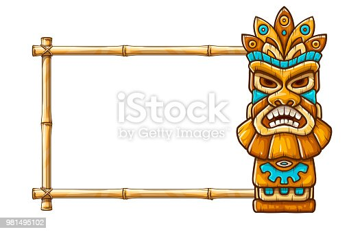 Tiki traditional hawaiian tribal mask with human face on bamboo frame with copyspace. Wooden totem symbol, god from ancient culture of Hawaii. Hand drawn in cartoon style, isolated on white