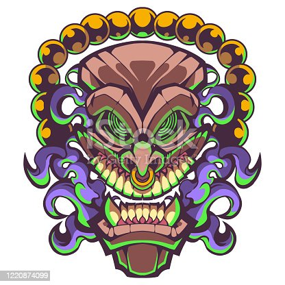 Illustration of Tiki traditional hawaiian tribal mask with human face design