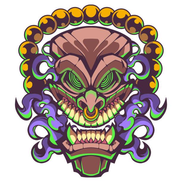 illustrazioni stock, clip art, cartoni animati e icone di tendenza di tiki traditional hawaiian tribal mask with human face design - totem fair