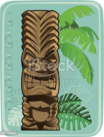 Tiki totem. Background isolated, global colors.