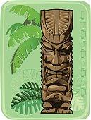 Tiki totem on a vintage background.