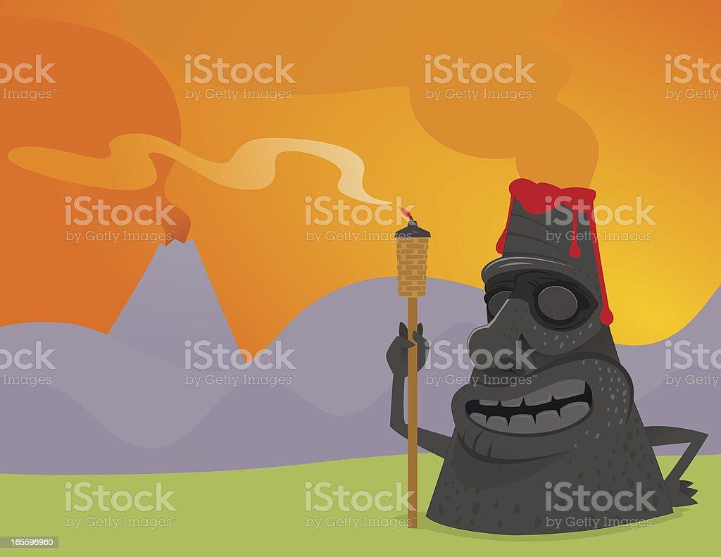 Tiki Volcano vector art illustration