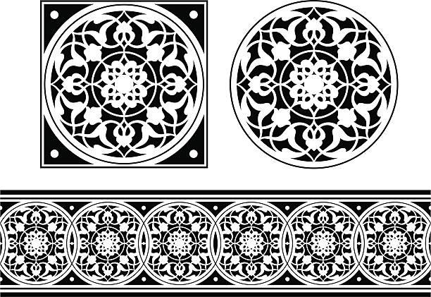 illustrations, cliparts, dessins animés et icônes de carrelage et frieze design - enluminure bordure