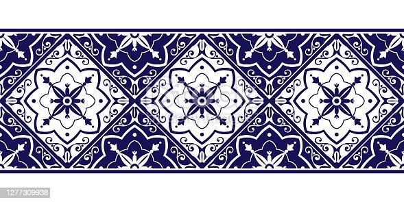 istock Tile border pattern vector seamless. Ceramic blue and white ornament texture. Portuguese azulejos, sicily italian majolica, mexican talavera 1277309938
