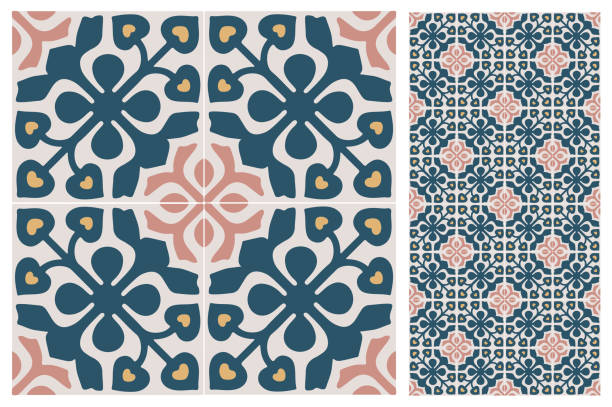 tile floor 124is Arabic patter style tiles for wall and floor. Modern decor of the traditional Ceramic decorative tiles. morocco stock illustrations