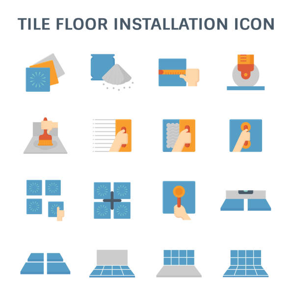 Icon Tile Work : Royalty free flooring installation clip art vector images