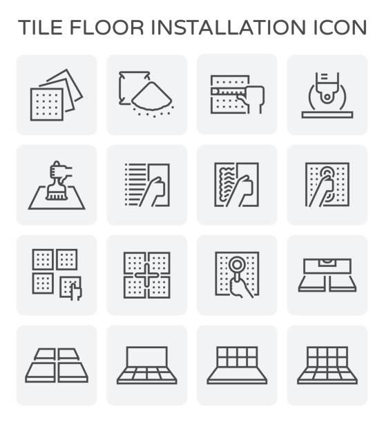 tile floor icon - wyrób ceramiczny stock illustrations