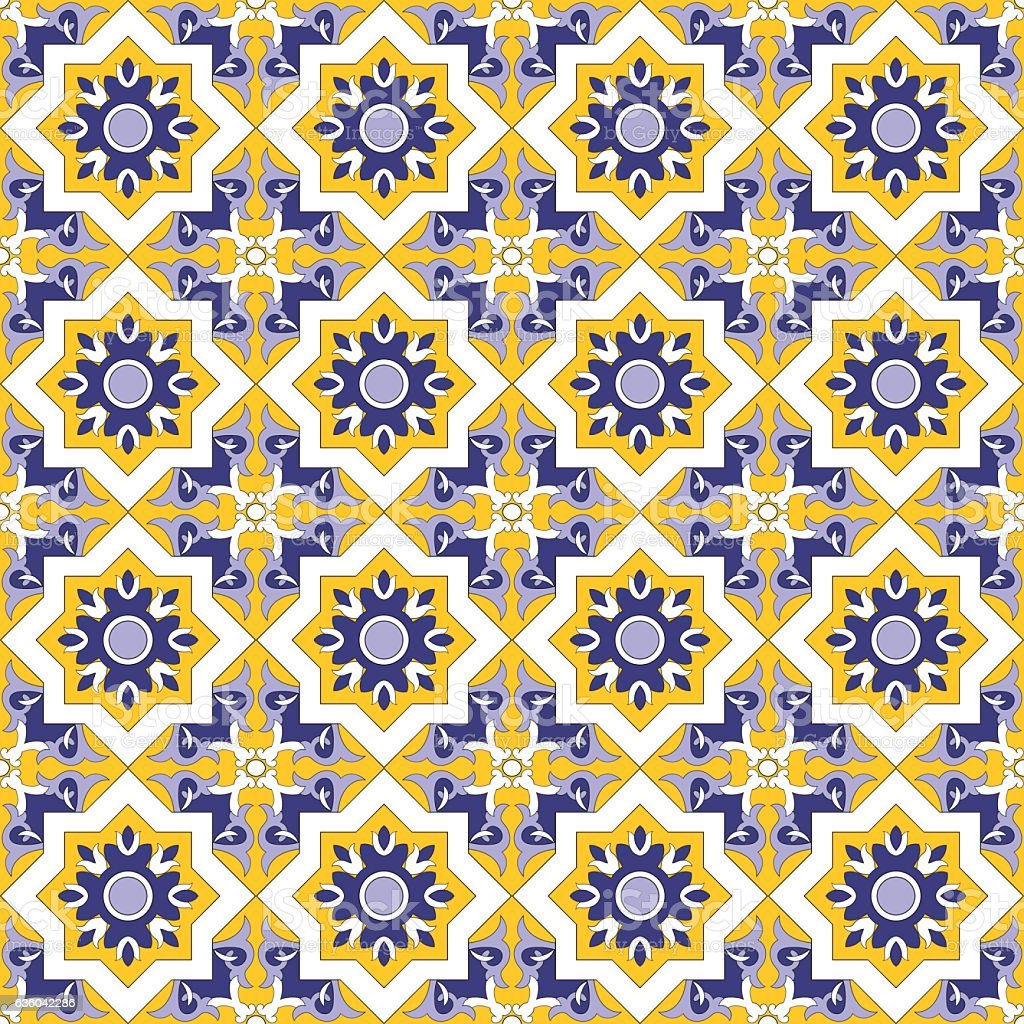 Tile floor mosaic kaleidoscope tiled pattern - Illustration vectorielle