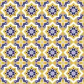 Tile floor mosaic kaleidoscope tiled pattern