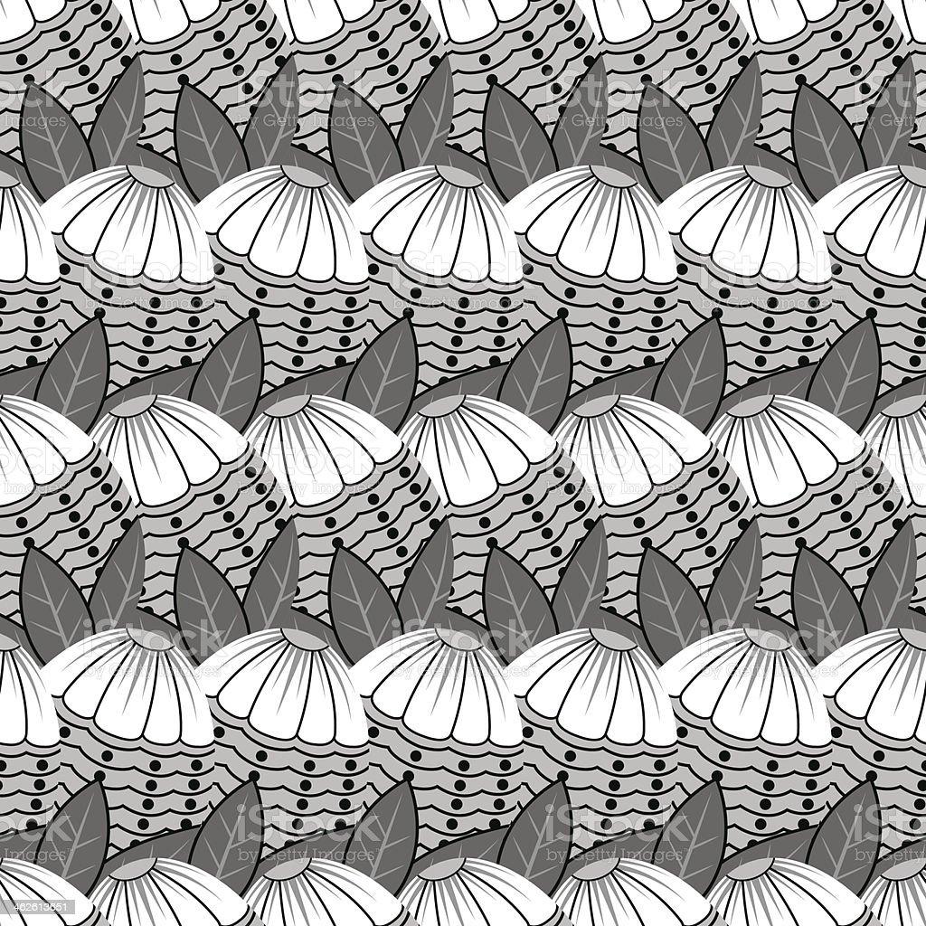 Tile Flower Pattern vector art illustration