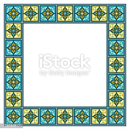 istock Tile frame vector. Mosaic border ceramic pattern. Traditional ornamental design. Moroccan arabesque, portuguse azulejos, mexican talavera 1285938171