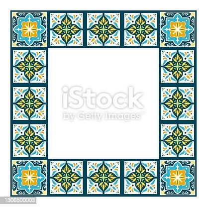 istock Tile frame vector. Vintage ceramic border pattern. Classic mosaic decor design. Portuguese azulejos, mexican talavera 1306500003