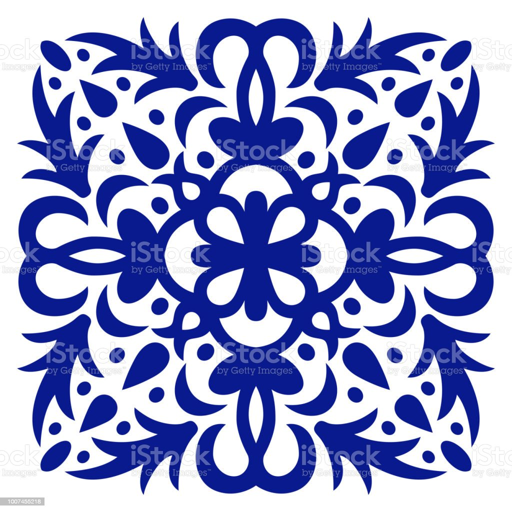 Ornement De Tuile Illustration Vectorielle Mosaique Fleuri Bleu