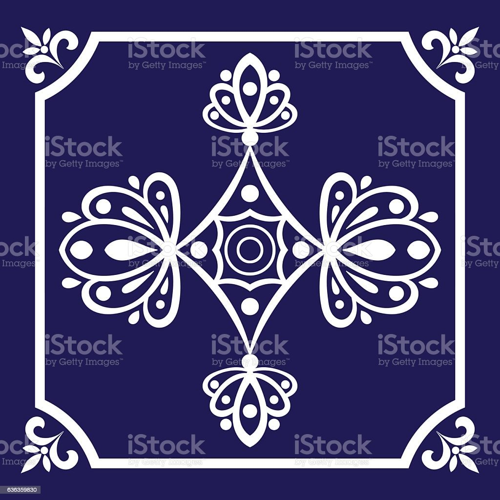 Tile pattern seamless vector blue and white color vector art illustration