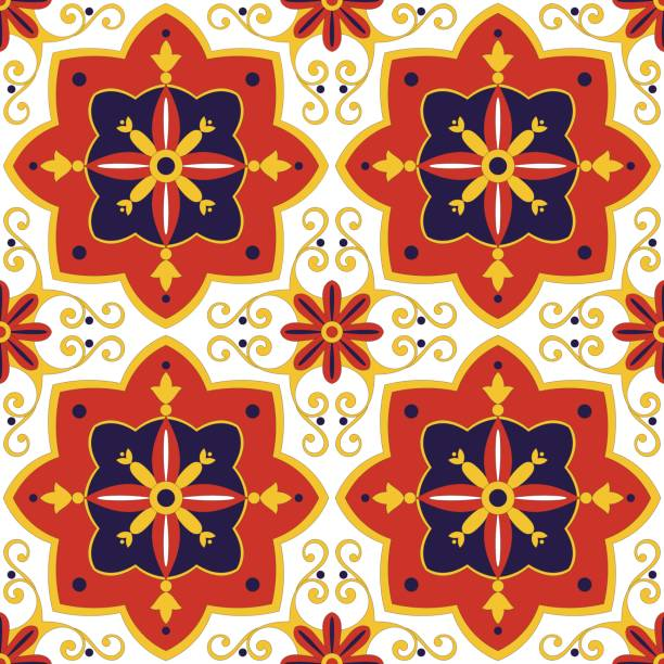 tile pattern vector seamless with flowers motifs - sicily stock illustrations