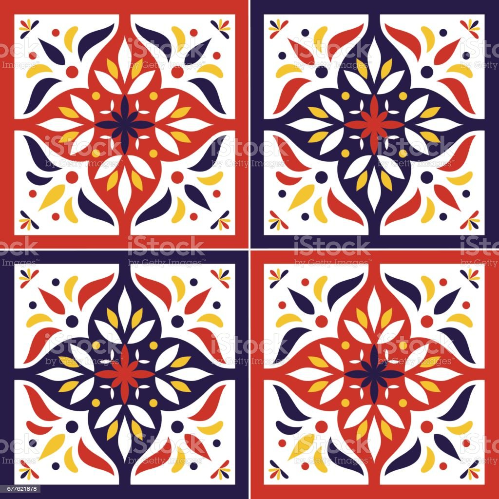 Tile pattern vector seamless with flowers motifs vector art illustration