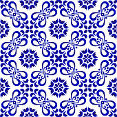 ceramic tile pattern, Porcelain decorative background design, blue and white floral decor vector illustration, beautiful ceiling backdrop damask and baroque style