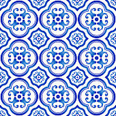 tile pattern, ceramic decorative blue and white background, Chinese porcelain indigo backdrop decor vector illustration
