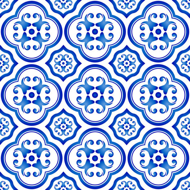 illustrazioni stock, clip art, cartoni animati e icone di tendenza di tile pattern vector - lisbona