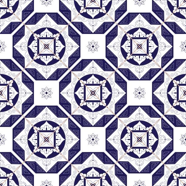 fliesen muster vektor mit diagonalen ornamente - mosaikböden stock-grafiken, -clipart, -cartoons und -symbole