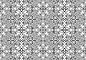 tile with flowers and abstract figures in folk style drawn on a white background for coloring, drawn vector
