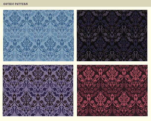 tileable gotischen muster - plüschmuster stock-grafiken, -clipart, -cartoons und -symbole