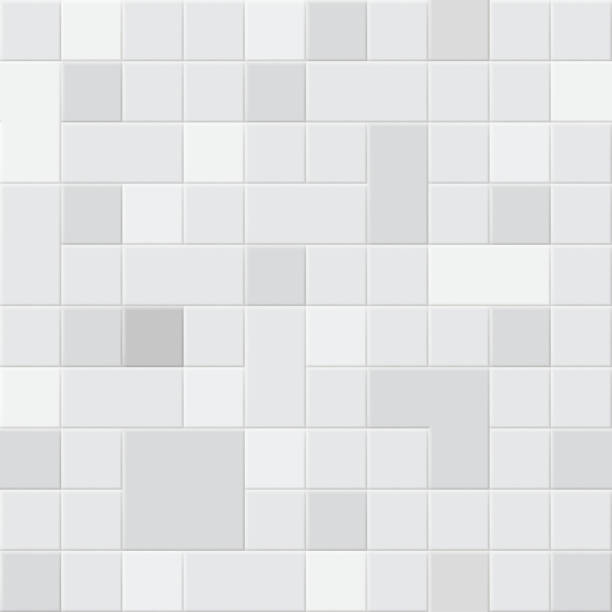 Tiled background or seamless pattern Background or seamless pattern of square tiles in different shades of gray colors bathroom backgrounds stock illustrations