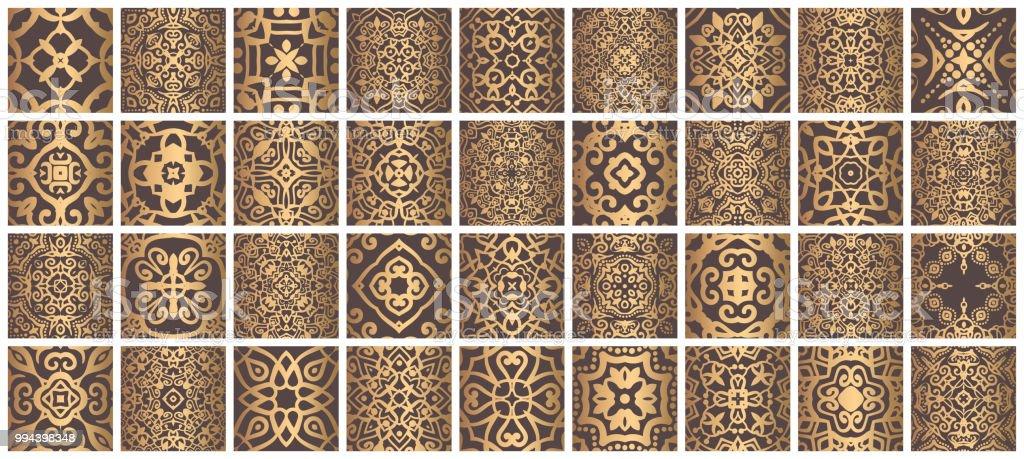 Fliesen Bundeln Goldbraun Stock Vektor Art Und Mehr Bilder Von