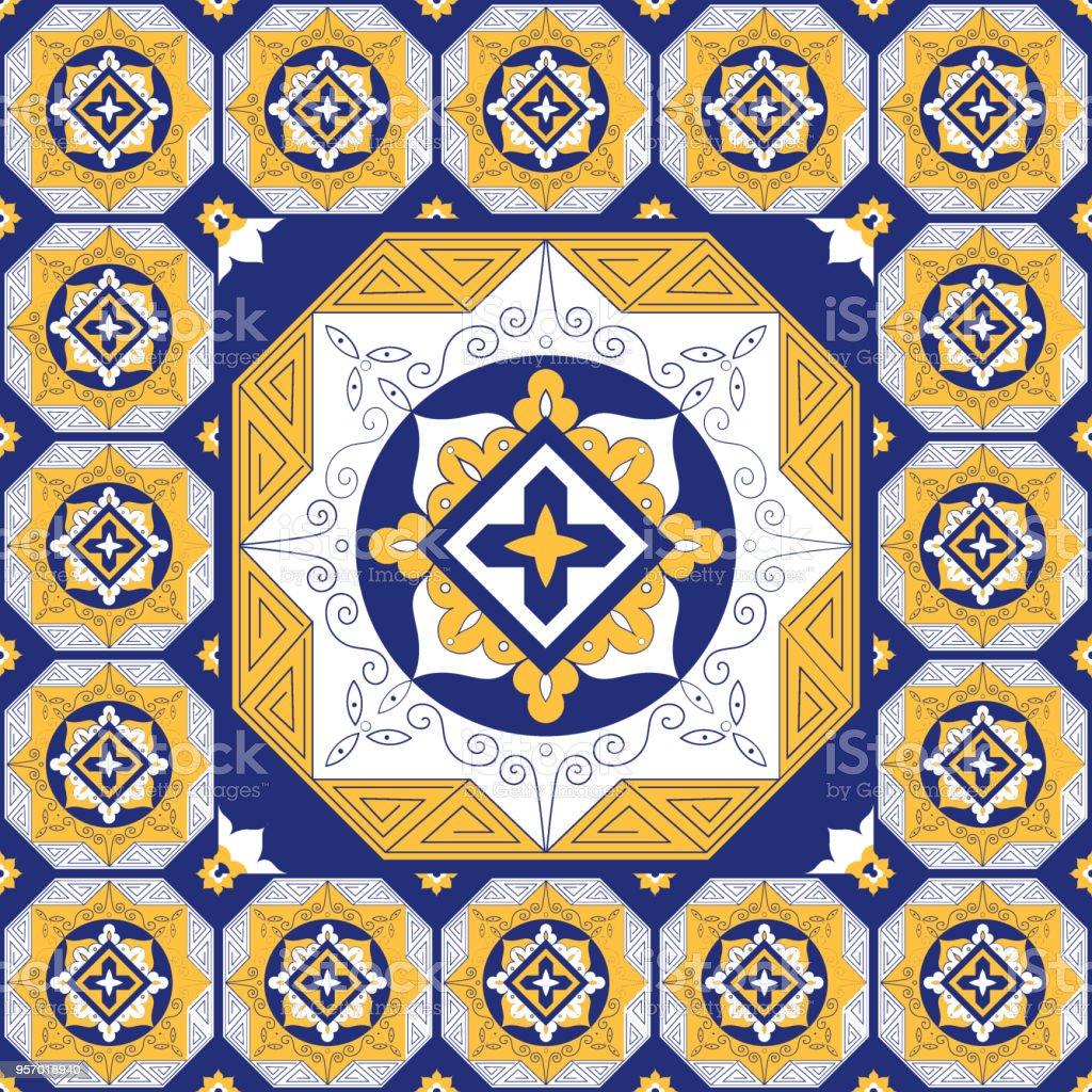 Ilustración de Azulejos De Piso Vector Patrón Con Elementos De ...