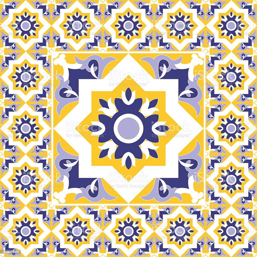 Tiles floor - vintage pattern vector vector art illustration