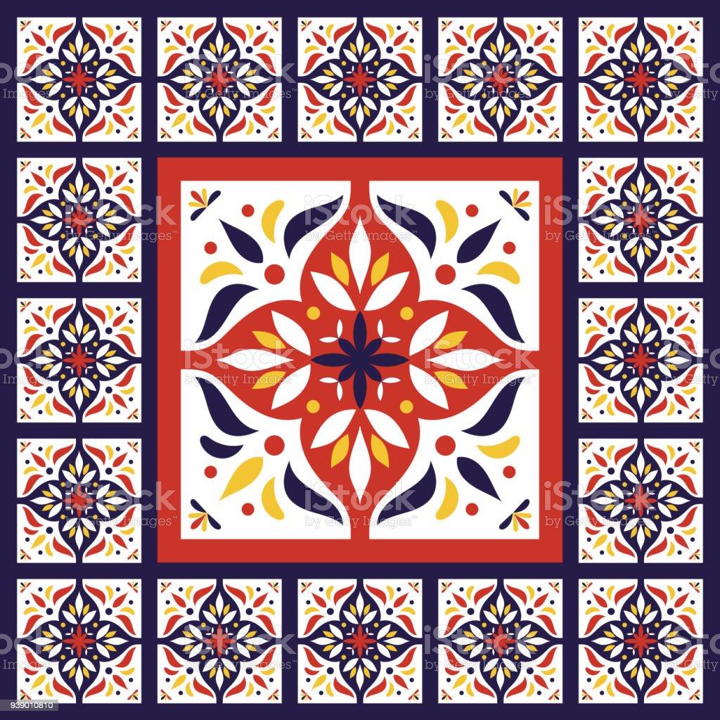 Azulejos Vector Patrón Vintage Con Cemento Cerámica Baldosas Gran ...