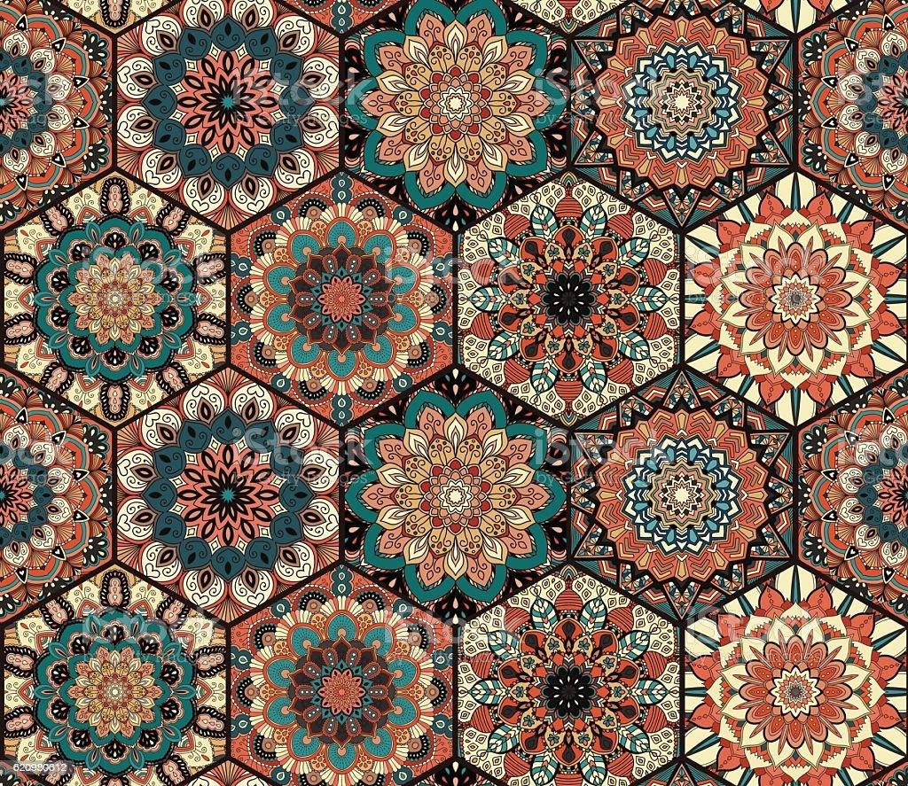 Tiles Pattern Mandala Blue Brown ilustração de tiles pattern mandala blue brown e mais banco de imagens de arte, cultura e espetáculo royalty-free
