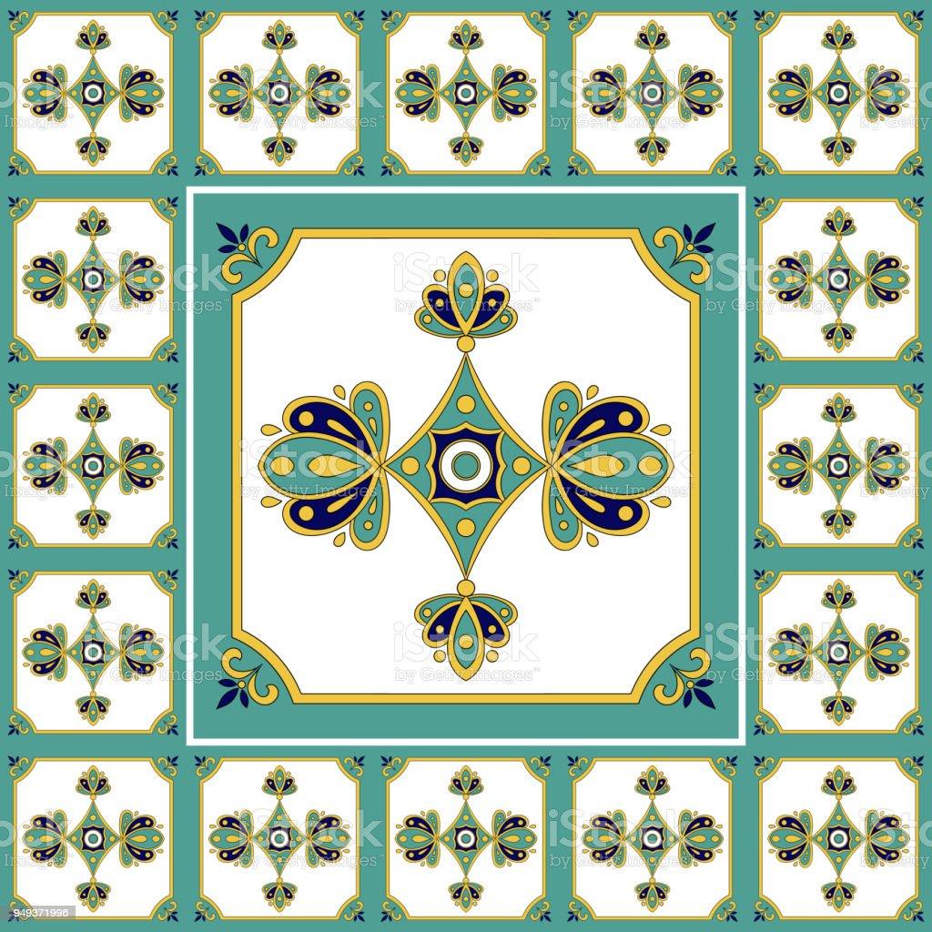 Ilustración de Azulejos Patrón Vector Vintage Piso Con Mosaico De ...