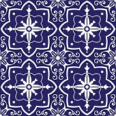 Tiles pattern vector with blue and white flowers ornaments