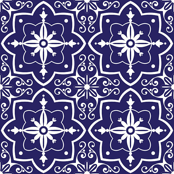 tiles pattern vector with blue and white flowers ornaments - tile pattern stock illustrations, clip art, cartoons, & icons