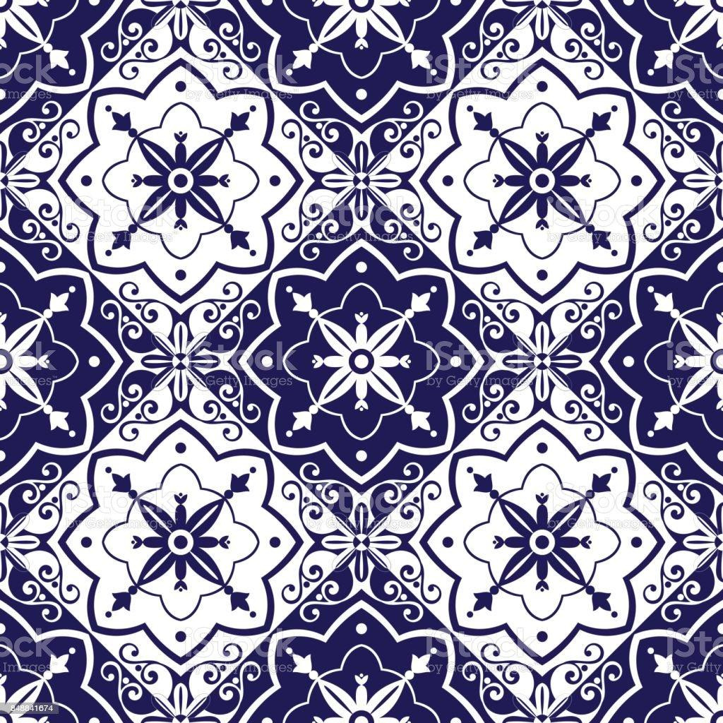 Fliesen Muster Vektor Mit Blauen Und Weißen Ornamenten Stock Vektor ...