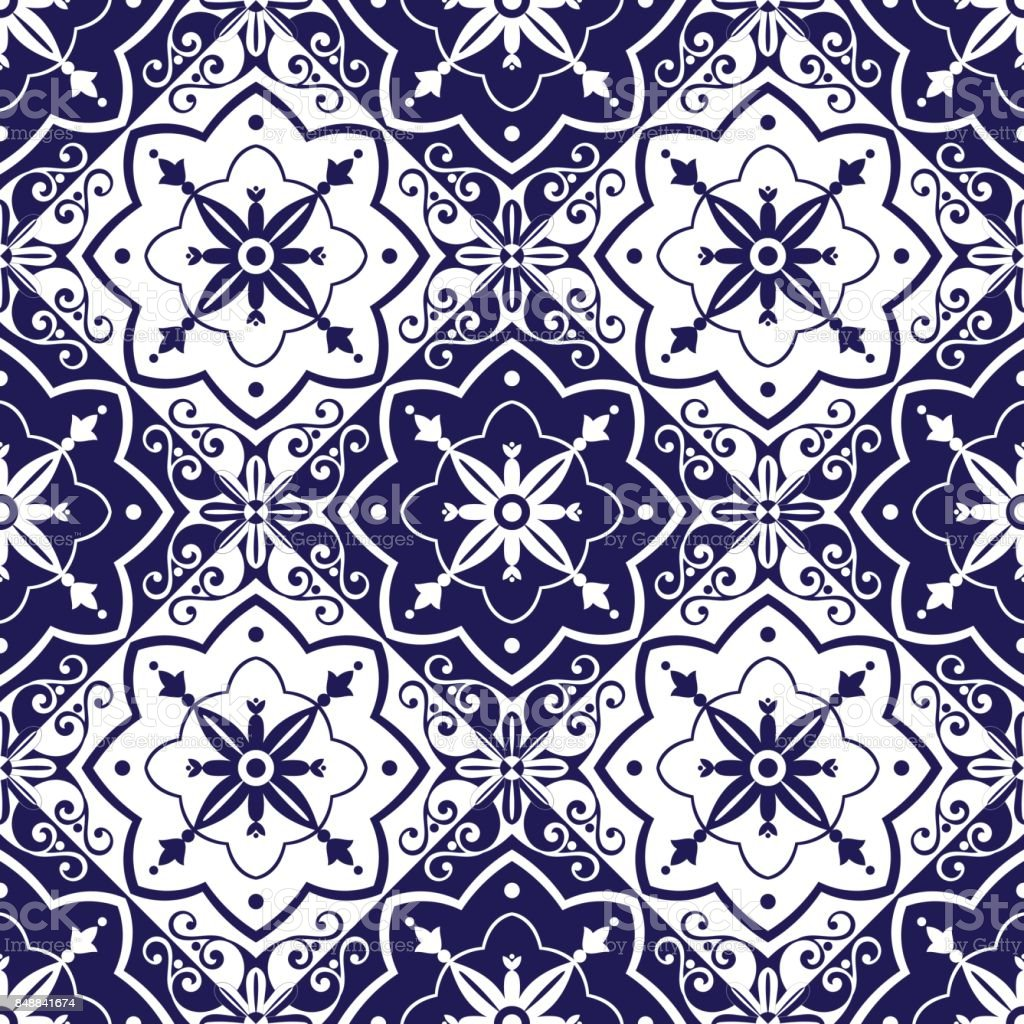 Tiles pattern vector with blue and white ornaments vector art illustration