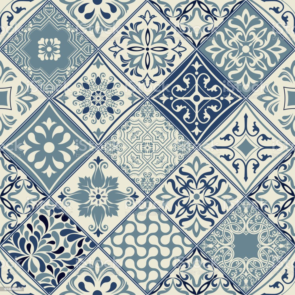 Tiles pattern vector with diagonal blue and white flowers vector art illustration