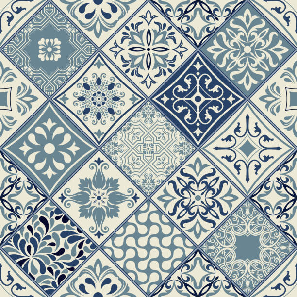 tiles pattern vector with diagonal blue and white flowers - tile pattern stock illustrations, clip art, cartoons, & icons