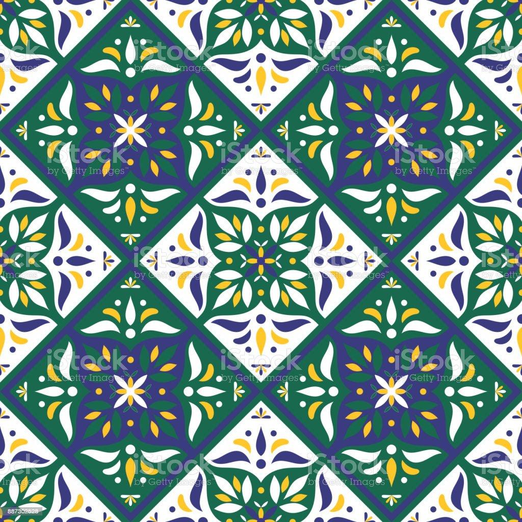 Fliesen Muster Vektor Mit Diagonalen Orientalische Ornamente Stock