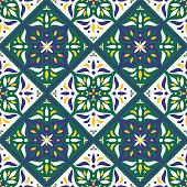 Tiles pattern vector with diagonal oriental ornaments. Portuguese azulejo, mexican talavera, spanish, italian majolica or arabic motifs.