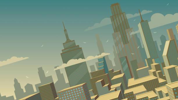 傾斜漫画都市景観 - 漫画の風景点のイラスト素材/クリップアート素材/マンガ素材/アイコン素材