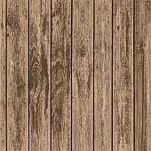Texture of brown wooden panels. Timber board background. Stock vector illustration.