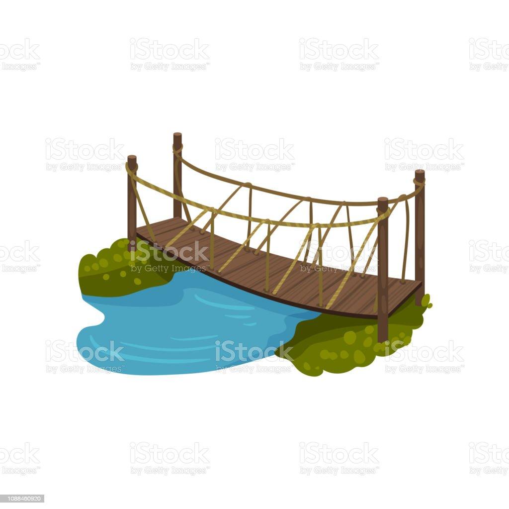 Ilustraci n de puente de madera con pasamanos de cuerda - Pasamanos de cuerda ...