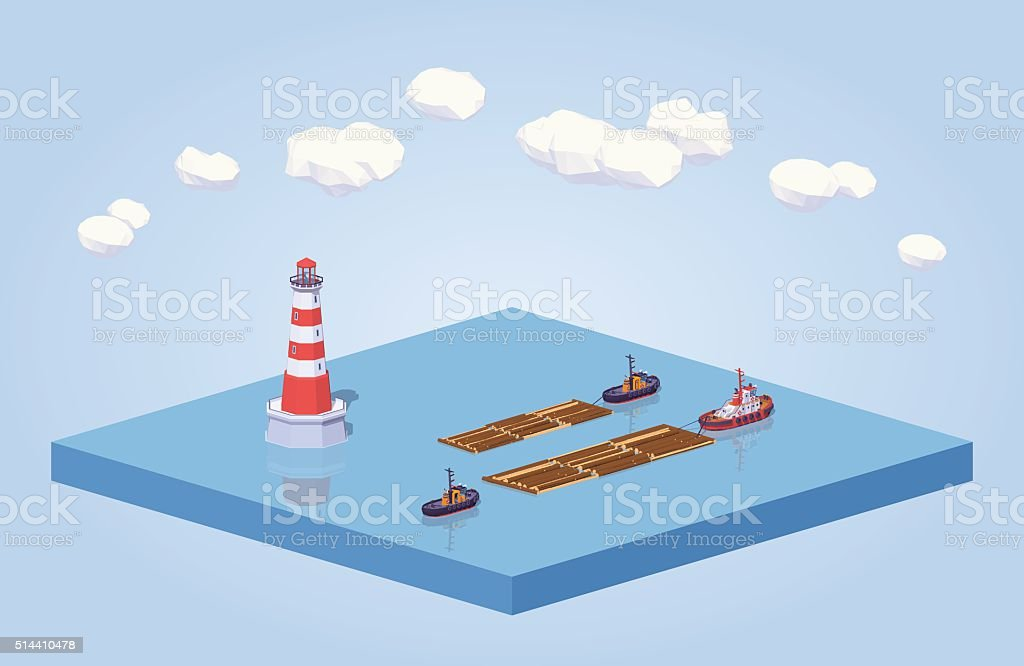 Timber floating on tow at the sea vector art illustration