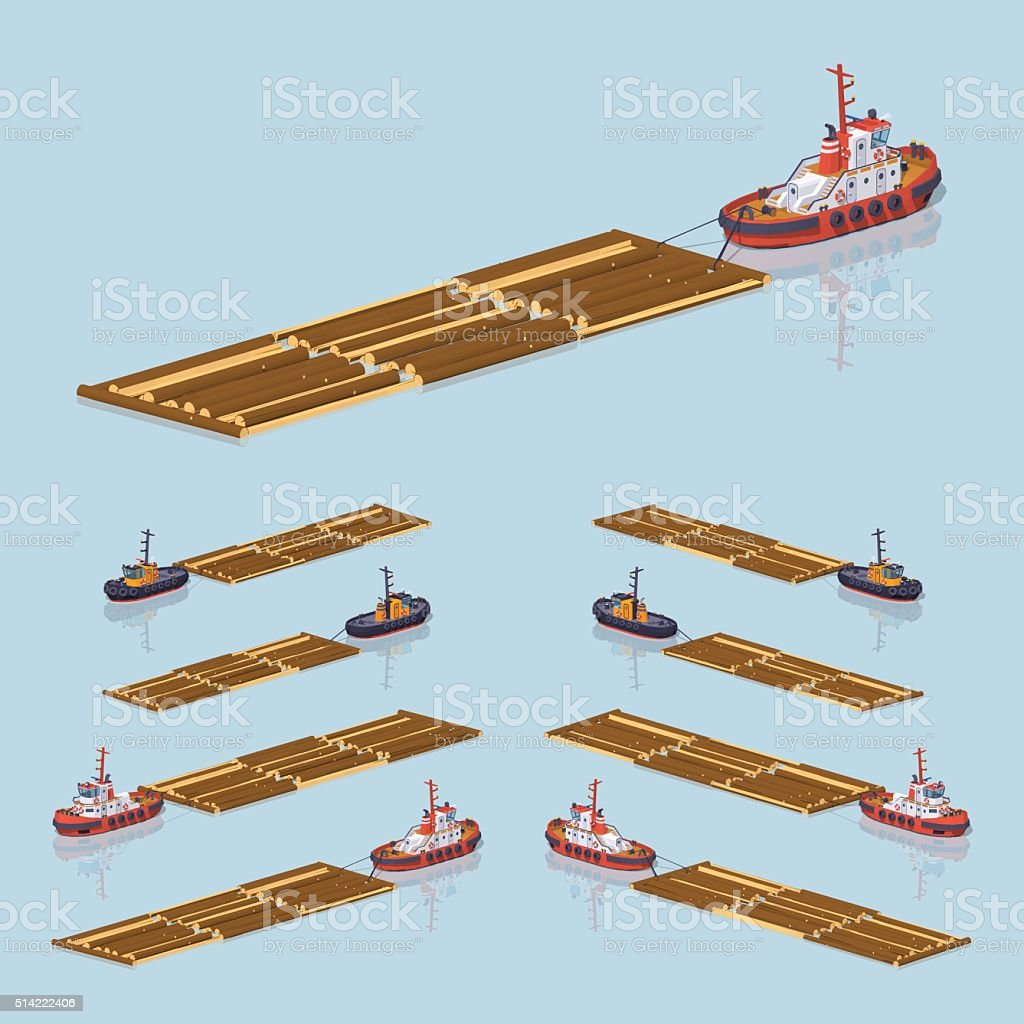 Timber floating on tow vector art illustration